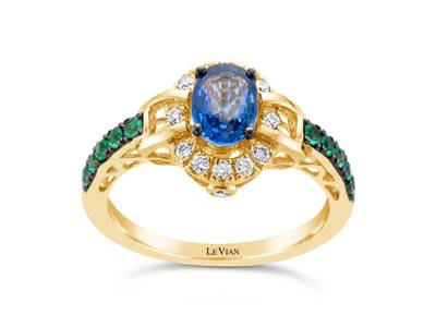 14K Honey Gold™ Cornflower Ceylon Sapphire™ 3/4 cts., Costa Smeralda Emeralds™ 1/6 cts. Ring with Vanilla Diamonds® 1/6 cts. | WJFN 1