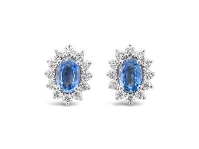14K Vanilla Gold® Cornflower Ceylon Sapphire™ 7/8 cts. Earrings with Vanilla Diamonds® 3/8 cts. | WJFN 20