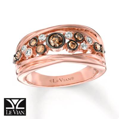 14K Strawberry Gold® Ring with Chocolate Diamonds® 3/8 cts., Vanilla Diamonds® 1/6 cts. | WJFP 77