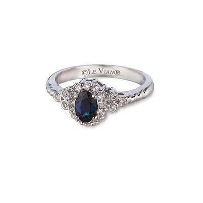 14K Vanilla Gold® Blueberry Sapphire™ 1/2 cts. Ring with Vanilla Diamonds® 1/4 cts. | WJFS 18