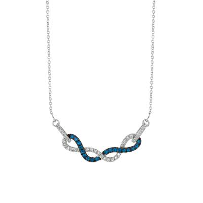 14K Vanilla Gold® Blueberry Sapphire™ 3/8 cts. Necklace with Vanilla Diamonds® 1/3 cts. | WJFT 36