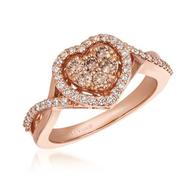 14K Strawberry Gold® Ring with Nude Diamonds 1/4 cts., Vanilla Diamonds® 1/3 cts. | WJFT 4