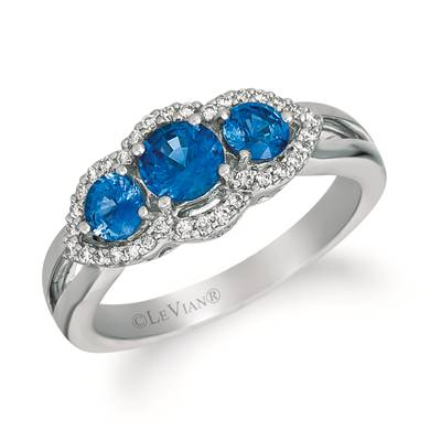14K Vanilla Gold® Blueberry Sapphire™ 1 cts. Ring with Vanilla Diamonds® 1/5 cts. | WJFT 41-070