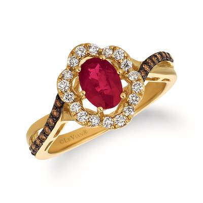14K Honey Gold™ Passion Ruby™ 3/4 cts. Ring with Vanilla Diamonds® 1/4 cts., Chocolate Diamonds® 1/8 cts. | WJFT 43