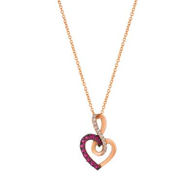 14K Strawberry Gold® Passion Ruby™ 1/5 cts. Pendant with Vanilla Diamonds® 1/15 cts. | WJFT 55