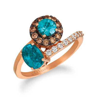 14K Strawberry Gold® Blueberry Zircon™ 1  3/8 cts. Ring with Chocolate Diamonds® 1/4 cts., Vanilla Diamonds® 1/5 cts. | WJFT 76