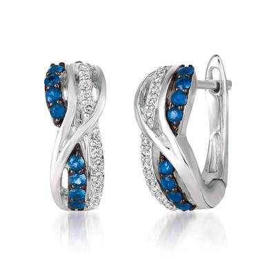 14K Vanilla Gold® Blueberry Sapphire™ 1/3 cts. Earrings with Vanilla Diamonds® 1/8 cts. | WJGF 10