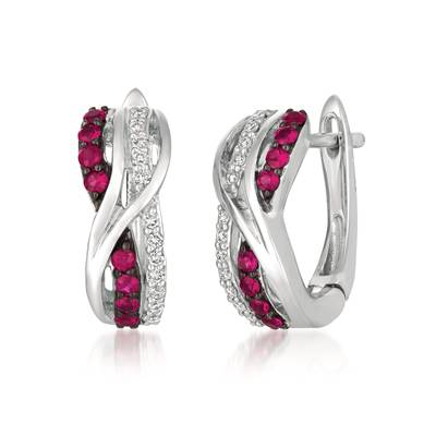 14K Vanilla Gold® Passion Ruby™ 1/4 cts. Earrings with Vanilla Diamonds® 1/8 cts. | WJGF 14