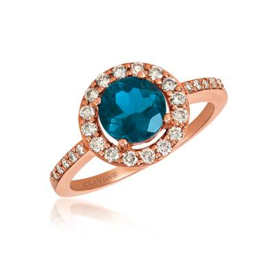 14K Strawberry Gold® Deep Sea Blue Topaz™ 1  3/8 cts. Ring with Nude Diamonds™ 3/8 cts. | WJGF 26