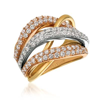 14K Tri Color Gold Ring with Nude Diamonds™ 1  7/8 cts. | WJGF 33