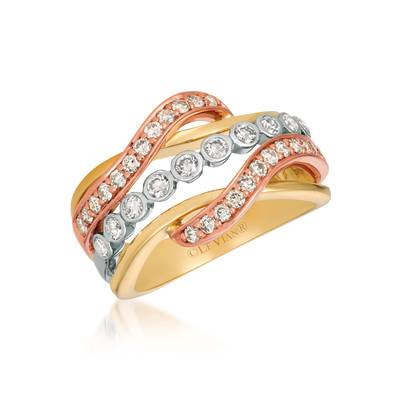 14K Tri Color Gold Ring with Nude Diamonds™ 3/4 cts. | WJGF 42