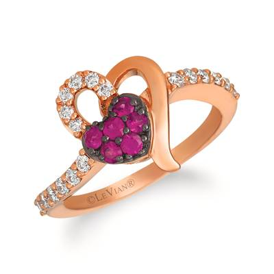 14K Strawberry Gold® Passion Ruby™ 1/4 cts. Ring with Vanilla Diamonds® 1/3 cts. | WJGH 2