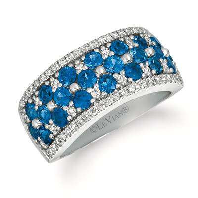14K Vanilla Gold® Blueberry Sapphire™ 1  7/8 cts. Ring with Vanilla Diamonds® 3/8 cts. | WJGH 32