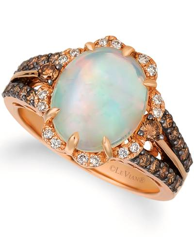 14K Strawberry Gold® Neopolitan Opal™ 2  1/5 cts. Ring with Chocolate Diamonds® 1/2 cts., Vanilla Diamonds® 1/10 cts. | WJGH 89