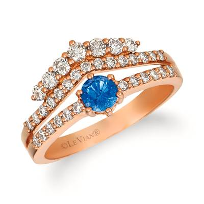 14K Strawberry Gold® Cornflower Ceylon Sapphire™ 1/3 cts. Ring with Nude Diamonds™ 5/8 cts. | WJGN 27