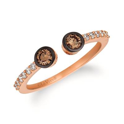 14K Strawberry Gold® Ring with Chocolate Diamonds® 1/4 cts., Vanilla Diamonds® 1/6 cts. | WJGN 52