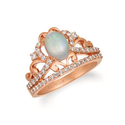 14K Strawberry Gold® Neopolitan Opal™ 5/8 cts. Ring with Nude Diamonds™ 1/2 cts. | WJGN 77