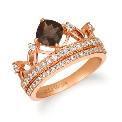 14K Strawberry Gold® Chocolate Quartz® 3/4 cts. Ring with Nude Diamonds™ 5/8 cts. | WJGN 78