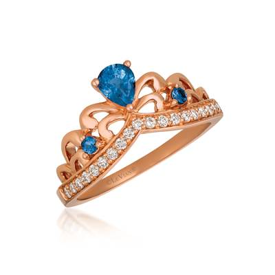 14K Strawberry Gold® Blueberry Sapphire™ 1/3 cts. Ring with Nude Diamonds™ 1/5 cts. | WJGN 83