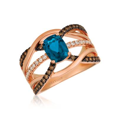 14K Strawberry Gold® Deep Sea Blue Topaz™ 1  1/2 cts. Ring with Chocolate Diamonds® 1/3 cts., Nude Diamonds™ 1/5 cts. | WJGP 54
