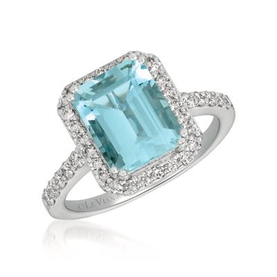 14K Vanilla Gold® Sea Blue Aquamarine® 2  1/2 cts. Ring with Vanilla Diamonds® 1/2 cts. | WJGQ 41