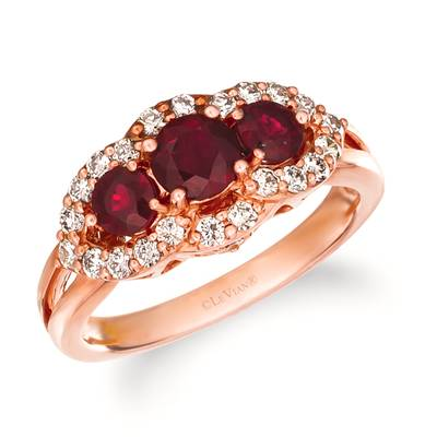 14K Strawberry Gold® Passion Ruby™ 1 cts. Ring with Nude Diamonds™ 1/2 cts. | WJGR 14