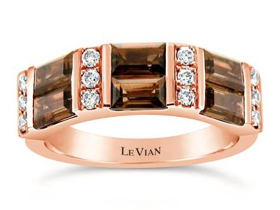 14K Strawberry Gold® Chocolate Quartz® 1  5/8 cts. Ring with Nude Diamonds™ 1/4 cts. | WJGR 15