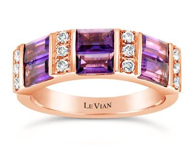 14K Strawberry Gold® Grape Amethyst™ 1  1/3 cts. Ring with Nude Diamonds™ 1/4 cts. | WJGR 16