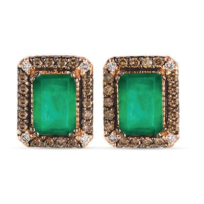 14K Strawberry Gold® New Emerald 1  3/8 cts. Earrings with Chocolate Diamonds® 1/4 cts., Nude Diamonds™ 1/20 cts. | WJGR 23