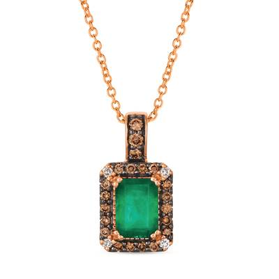14K Strawberry Gold® New Emerald 3/4 cts. Pendant with Chocolate Diamonds® 1/5 cts., Nude Diamonds  cts. | WJGR 29