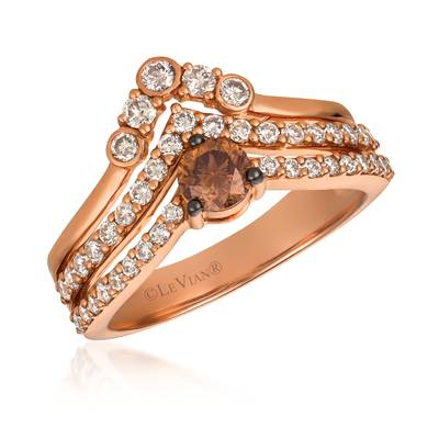 14K Strawberry Gold® Ring with Chocolate Diamonds® 1/3 cts., Nude Diamonds 5/8 cts. | WJGS 29