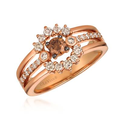 14K Strawberry Gold® Ring with Chocolate Diamonds® 1/4 cts., Nude Diamonds™ 1/2 cts. | WJGS 30
