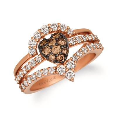 14K Strawberry Gold® Ring with Nude Diamonds™ 7/8 cts., Chocolate Diamonds® 1/3 cts. | WJGS 49
