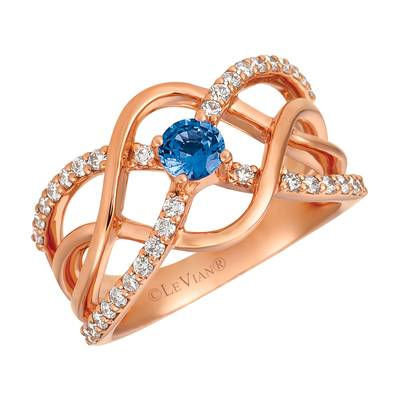 14K Strawberry Gold® Cornflower Ceylon Sapphire™ 1/3 cts. Ring with Vanilla Diamonds® 1/2 cts. | WJGZ 24