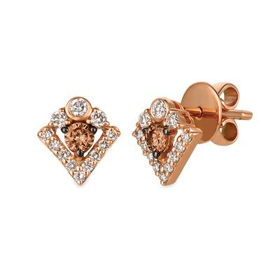 14K Strawberry Gold® Earrings with Chocolate Diamonds® 1/5 cts., Nude Diamonds™ 1/3 cts. | WJGZ 29