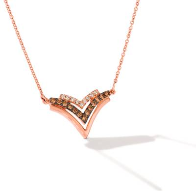 14K Strawberry Gold® Necklace with Chocolate Diamonds® 1/3 cts., Nude Diamonds™ 1/10 cts. | WJGZ 34
