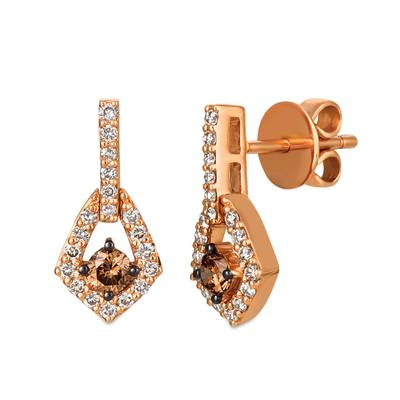 14K Strawberry Gold® Earrings with Chocolate Diamonds® 1/3 cts., Nude Diamonds™ 3/8 cts. | WJGZ 35