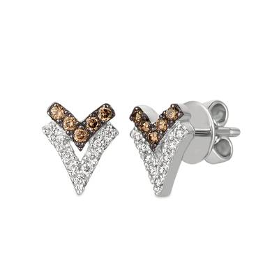 14K Vanilla Gold® Earrings with Chocolate Diamonds® 1/8 cts., Nude Diamonds 1/6 cts. | WJGZ 42