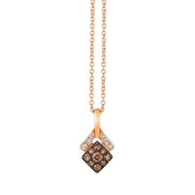 14K Strawberry Gold® Pendant with Chocolate Diamonds® 1/4 cts., Nude Diamonds™ 1/10 cts. | WJGZ 45