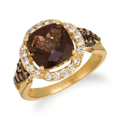 14K Honey Gold™ Chocolate Quartz® 2  5/8 cts. Ring with Nude Diamonds™ 1/3 cts., Chocolate Diamonds® 1/5 cts. | WJHA 11