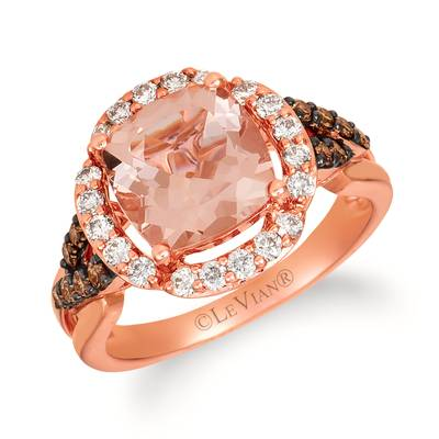 14K Strawberry Gold® Peach Morganite™ 2  1/6 cts. Ring with Nude Diamonds™ 1/3 cts., Chocolate Diamonds® 1/5 cts. | WJHA 19
