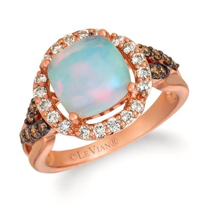 14K Strawberry Gold® Neopolitan Opal™ 1  7/8 cts. Ring with Nude Diamonds 1/3 cts., Chocolate Diamonds® 1/5 cts. | WJHA 27