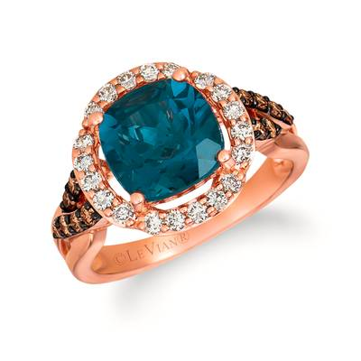 14K Strawberry Gold® Deep Sea Blue Topaz™ 3  1/6 cts. Ring with Nude Diamonds™ 1/3 cts., Chocolate Diamonds® 1/5 cts. | WJHA 3