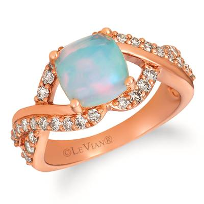 14K Strawberry Gold® Neopolitan Opal™ 1  1/6 cts. Ring with Nude Diamonds™ 5/8 cts. | WJHA 31