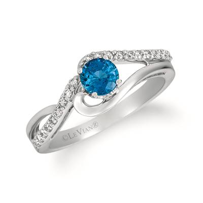 14K Vanilla Gold® Blueberry Sapphire™ 1/2 cts. Ring with Nude Diamonds™ 1/5 cts. | WJHB 11-070