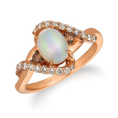 14K Strawberry Gold® Neopolitan Opal™ 5/8 cts. Ring with Chocolate Diamonds® 1/10 cts., Nude Diamonds™ 1/3 cts. | WJHN 38