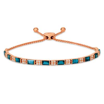 14K Strawberry Gold® Deep Sea Blue Topaz™ 2  3/4 cts. Bolo Bracelet with Vanilla Diamonds® 3/8 cts. | WJHN 43