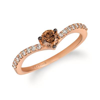 14K Strawberry Gold® Ring with Chocolate Diamonds® 1/3 cts., Nude Diamonds 1/5 cts. | WJHN 50