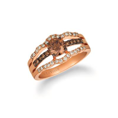 14K Strawberry Gold® Ring with Chocolate Diamonds® 7/8 cts., Nude Diamonds 1/4 cts. | WJHN 62