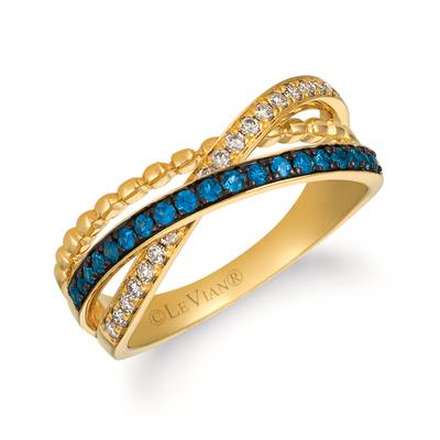 14K Honey Gold™ Blueberry Sapphire™ 1/4 cts. Ring with Nude Diamonds™ 1/5 cts. | WJHN 65